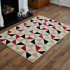 LARGE EXTRA LARGE NEW MEDIUM MODERN CREAM RED BLACK DIAMOND PATTERN  BEST RUGS!!