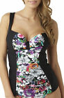 Panache SW0841 Swimwear Annalise Moulded Tankini Top in Black / Floral