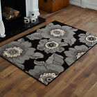 NEW BLACK GREY FLOWERS PATTERN SMALL MEDIUM MODERN CHEAP AND BEST QUALITY RUGS