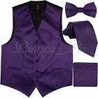 Deep Purple Solid Vest Waistcoat and Straight Cut BowTie & Necktie Hanky Wedding