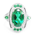 6ct Nano Russian Emerald Ring Solid 925 Sterling Silver Size 6 7 8 9 AMAZING