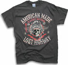 American Made Classic Motor Skull Lost Highway Est 1977 Men Biker T Shirt Sm 3XL