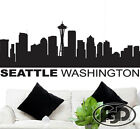 """Wall Decal Sticker Seattle Skyline 22"""" Tall 56"""" Wide in White or Black"""