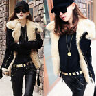 Womens  Personality  Warm Motorcycle Jacket Thick Coat Parka Faux Fur Lapel