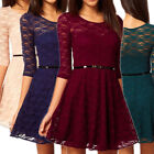 Women's Sexy Lady Spoon Neck 3/4 Sleeve Lace Skater Dress Fit Slim Party Dress