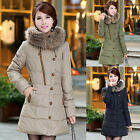 New Women's Winter Down Jacket Hooded Fur Collar Parka Coat Warm Outerwear Thick