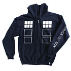 DOCTOR WHO OFFICIAL TARDIS HOODIE ZIP-UP - ADULTS 3 SIZES SMALL, MEDIUM, LARGE
