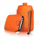 QUALITY LEATHER PULL TAB CASE COVER POUCH & STYLUS FOR DORO PHONE EASY MOBILES