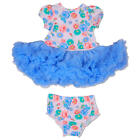 Scrumptious Girls Light Blue Floral Print Tiered Tulle Tutu Dress & Matching Di