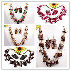 New Coconut Shell Square Beads Necklace Bracelet Earrings Jewlery Set Option