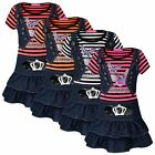 GIRLS SHORT SLEEVE BUTTERFLY PRINT DRESS DENIM WAISTCOAT SKIRT STRIPY TOP 3-10 Y