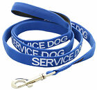 SERVICE DOG Blue Short Extra Long Lead Or Pet Collars Nylon Luxury padded Handle