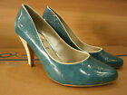 New Vintage Retro Pumps Heels Womens Ladies Shoes 60's Petrol Sizes Rockabilly