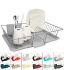 Home Basics 3-Piece Kitchen Sink Dish Drainer Set - Six Colors to Choose From