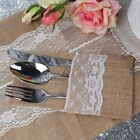 "4""x8"" Hessian Burlap Lace Wedding Cutlery Holder Pouch Rustic Decorations Favors"