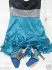 """Womens """"Ruby Rox"""" Teal, Black & Silver Gathered bubble  A- Line Sleeveless Dress"""
