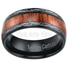 8MM Real Wood Hawaiian Band Mens Ring Black Tungsten Scroll Comfort Fit SZ 7-13
