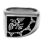 Large Sterling Silver Odin Raven Banner Norse Signet Ring - Viking Asatru Jewery