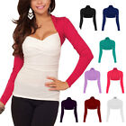 Womens Fitted Long Sleeve Cardigan Shrug Cropped Top Casual Bolero Jacket ac1122