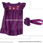 NWT CRAZY 8 Lot Girls 2 2T Purple Floral Dress Hair Set Outfit COTTON NEW