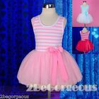 Striped Cotton Tulle Girls Tutu Dress Summer Party White Age 2-7 Years SD001