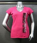 "RONNIE'S HARLEY-DAVIDSON WOMEN'S PINK V-NECK T-SHIRT ""LOOPED NAME"" #R2193"