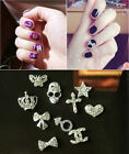 10-100pcs 3D Mix Bow Heart Nail Art Tips Rhinestone Crystal Decoration Wholesale