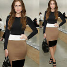 Women Round Collar Contrast Color Slim Bandage Bodycon Cocktail Party Club Dress