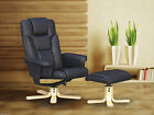 Boston Reclining Chair and Foot Stool - Black or Brown - Faux Leather - Recliner