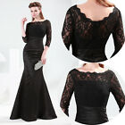 3/4Sleeve New Long Lace Cocktail Party Bridesmaid Ball Gown Evening Prom Dresses