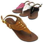 Womens Studded Thongs Buckle Slingback Flat Sandals Flip Flops Summer Shoes