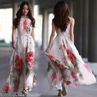 Women's Sleeveless Chiffon Evening Cocktail Party Summer Floral Long Maxi Dress