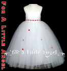 RED / WHITE Flower Girl Dress Satin w Tulle for Wedding Holiday Easter or Event