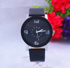 Fashion Black & White Leather Luxury Geneva Lady Women Analog Quartz Wrist Watch