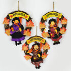 HAPPY HALLOWEEN WREATH - HANGING WALL WELCOME HOME DECORATION - WOODEN WITCH