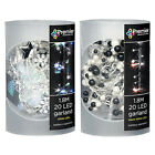 CHRISTMAS LED STRING GARLANDS - BEADED / STARS & LEAVES LEAF BLACK & WHITE