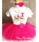 carousel horse pony ride Pink Girl 1st First Birthday Tutu Outfit Shirt Set