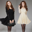 Fashion Woman's Lace Dress Long Sleeve Crew Neck Slim Cocktail Party Mini Dress