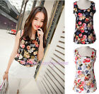 Women's Nice Sleeveless Flower Print Chiffon Casual Slim T-Shirt Tops Blouse