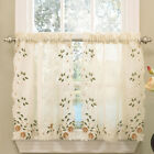 Floral Embroidered Semi-Sheer Linen Kitchen Curtain Choice Tier Valance or Swag