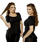 Black New Slim Fitted short sleeve Peplum Evening Stretch Casual Tee Shirt Top