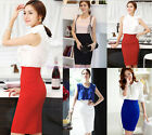 OL Lady High Waist Slim Knee Length Straight Solid Stretch Business Pencil Skirt