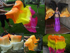 1 pair sturdy OG~various colors 1.5m*0.9m belly dance silk fan veils+carry bag.