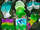 1pair=2pcs green~various colors 1.8m*0.9m belly dance silk fan veils+carry bag.