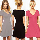 Tunic Women's Button Down Prom Office Lady Shirt Mini dress Skater Solid US S~XL