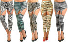 Women Suspender Fashion Leggings Zebra Black Squares Size 8 S 10 M 12 L NEW