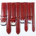 HQ 12mm 14mm BROWN RED GLOSSY ITALY LEATHER WATCH BAND UNIQUE CROC GRAIN STRAP