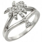 Sterling Silver Open Cut Palm Tree Summer Sun Clear CZ Wedding Ring Size 3-11