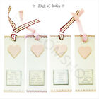 East Of India Pink Heart Bookmarks With Quotes Fabric Ribbon Christmas Gift