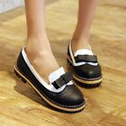 Womens Girls Flat Oxfords Vintage Sweet Boat Shoes pump Bowktie Brogue US4-10.5